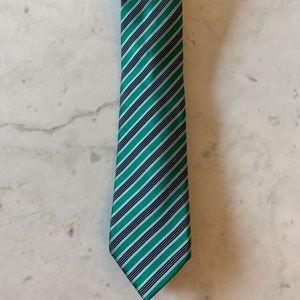Ermenegildo Zegna Silk Tie- Green/Navy Stripe